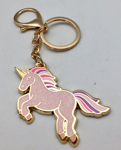 Wildflower Pink Rainbow Sparkle Be A Unicorn Key Ring