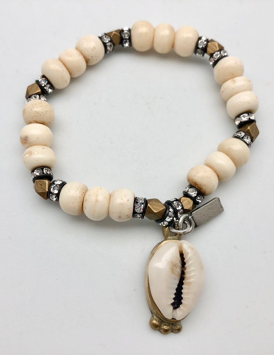 Vanessa Mooney Siphonei Bone & Brass Bracelet with Cowrie Shell Charm