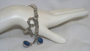 Vanessa Mooney Aqua Swan Rhodium Chain Bracelet with Blue Dangle Charms
