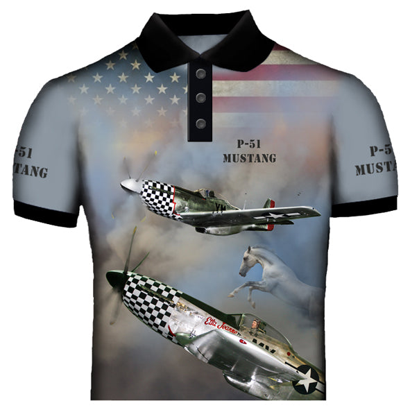 North American P-51 Mustang Polo Shirt 0A9