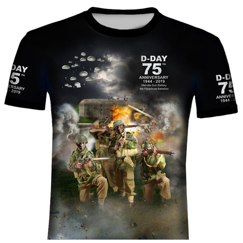 D DAY PARACHUTE REG MERVILLE  BATTERY T SHIRT 0B11