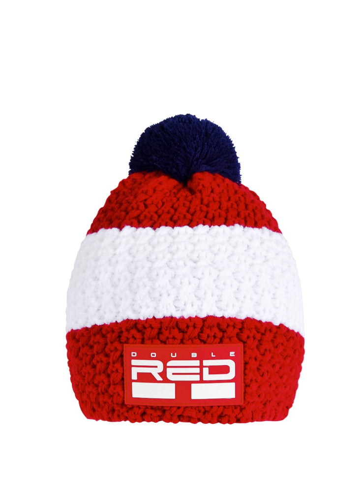 DOUBLE RED COURCHEVEL Pompom Cap Red/White