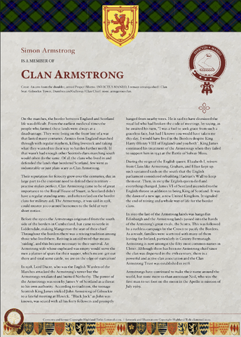 Armstrong Clan Certificate