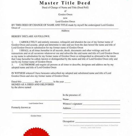Master Title Deed