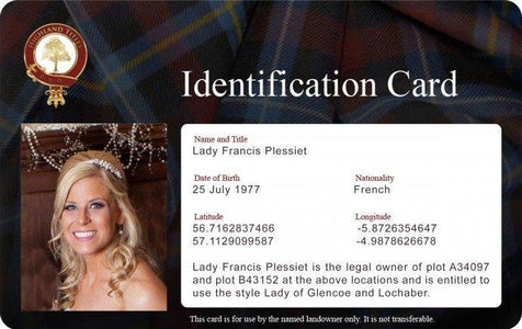 Photo ID Card for Laird, Lord and Lady of Glencoe and Lochaber