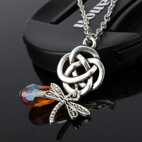 Dragonfly Eternity Knot Pendant