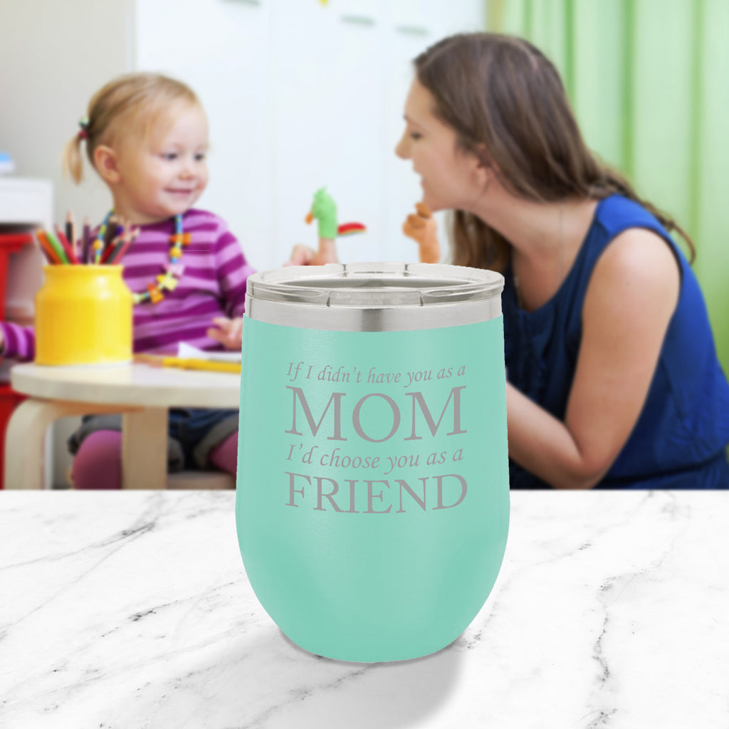 Personalized custom engraved stainless steel 12 oz tumbler with clear lid I'd choose you as a friend design with optional initial engraving on back and optional sliding lid aqua blue teal tiffany blue
