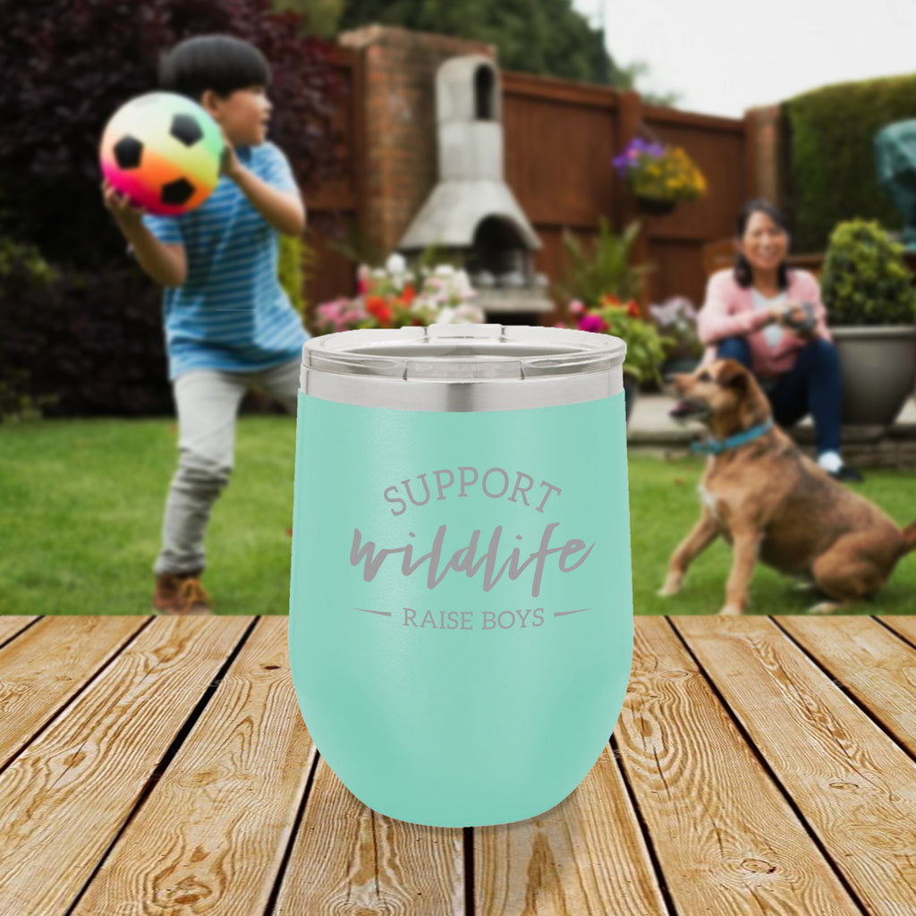 Personalized custom engraved stainless steel 12 oz tumbler with lid support wildlife raise boys design with optional initial engraving on back and optional sliding lid aqua blue teal tiffany blue