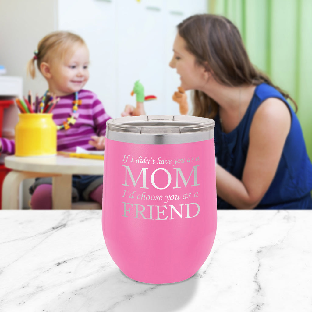 Personalized custom engraved stainless steel 12 oz tumbler with clear lid I'd choose you as a friend design with optional initial engraving on back and optional sliding lid pink