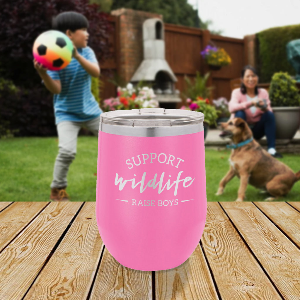 Personalized custom engraved stainless steel 12 oz tumbler with lid support wildlife raise boys design with optional initial engraving on back and optional sliding lid pink
