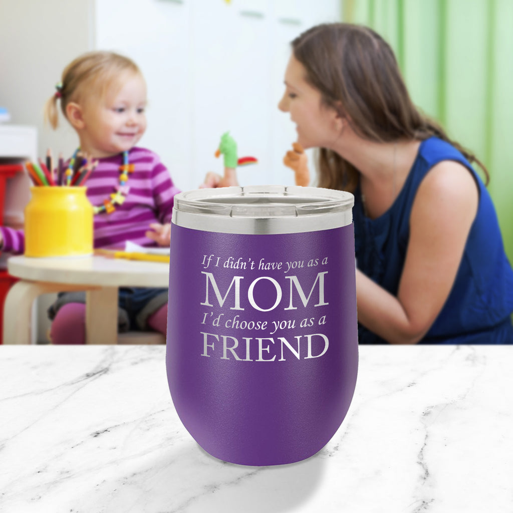 Personalized custom engraved stainless steel 12 oz tumbler with clear lid I'd choose you as a friend design with optional initial engraving on back and optional sliding lid purple