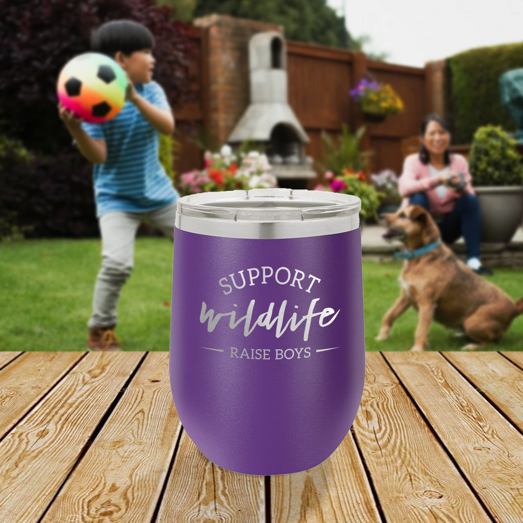 Personalized custom engraved stainless steel 12 oz tumbler with lid support wildlife raise boys design with optional initial engraving on back and optional sliding lid purple