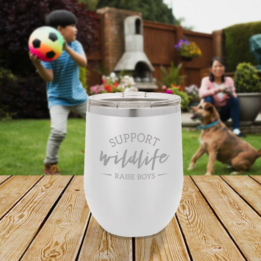 Personalized custom engraved stainless steel 12 oz tumbler with lid support wildlife raise boys design with optional initial engraving on back and optional sliding lid white