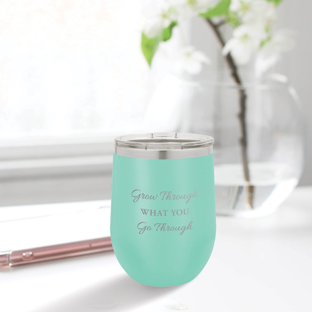Personalized custom engraved stainless steel 12 oz tumbler with lid grow through what you go through design with optional initial engraving on back aqua blue, tiffany blue, teal
