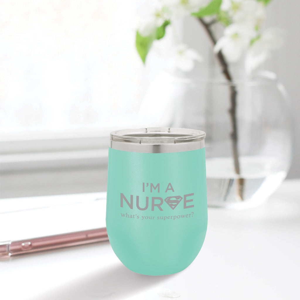 Personalized custom engraved stainless steel 12 oz tumbler with lid I'm a nurse what's your superpower design with optional initial engraving on back aqua blue, teal, tiffany blue