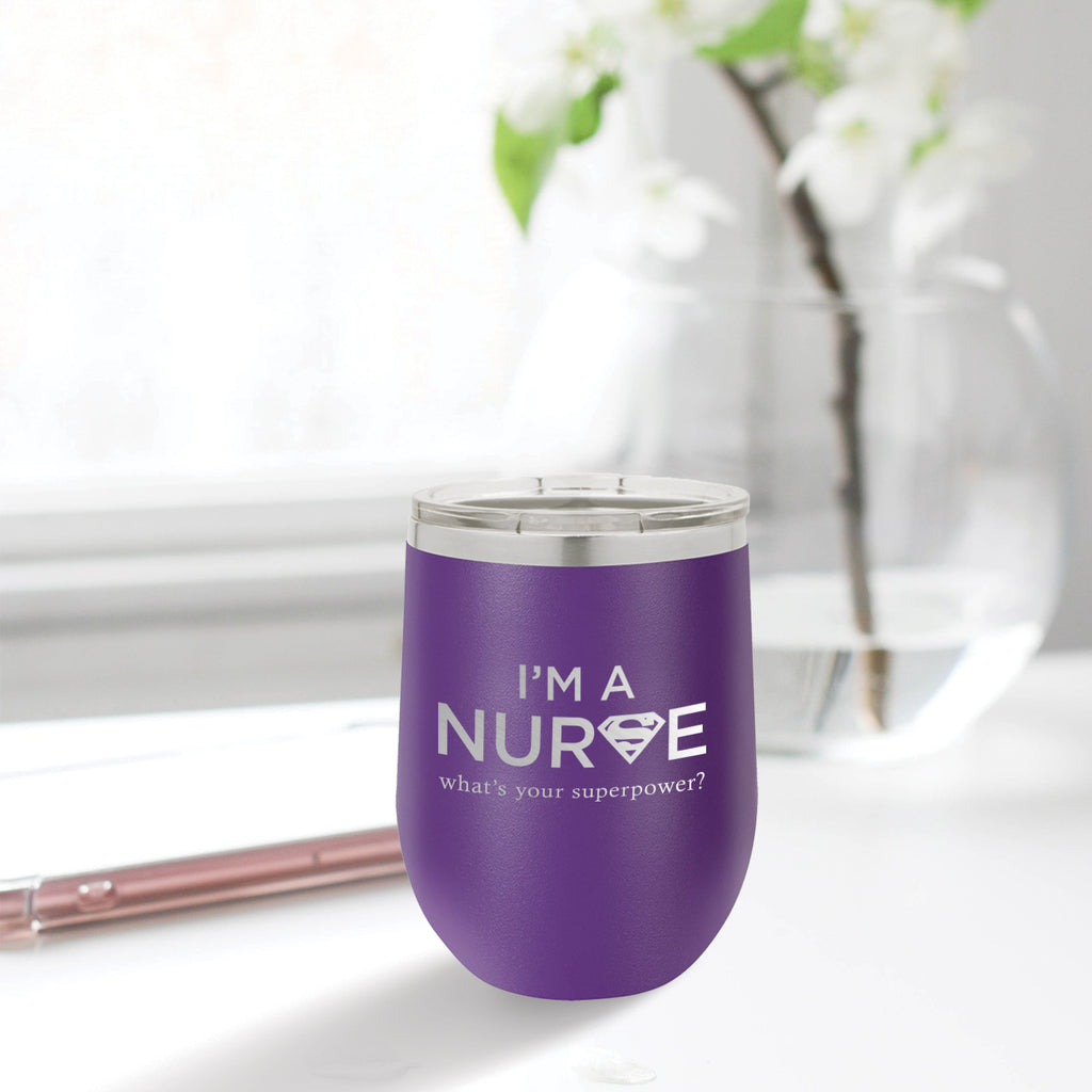 Personalized custom engraved stainless steel 12 oz tumbler with lid I'm a nurse what's your superpower design with optional initial engraving on back purple