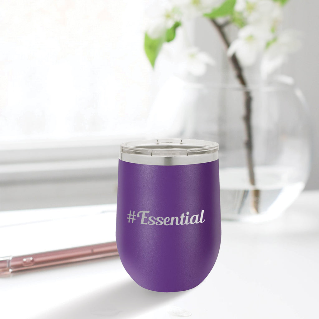 Personalized custom engraved stainless steel 12 oz tumbler with lid #Essential with optional initial engraving on back initial designs