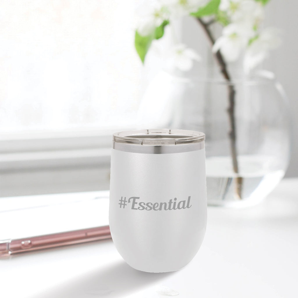 Personalized custom engraved stainless steel 12 oz tumbler with lid #Essential with optional initial engraving on back
