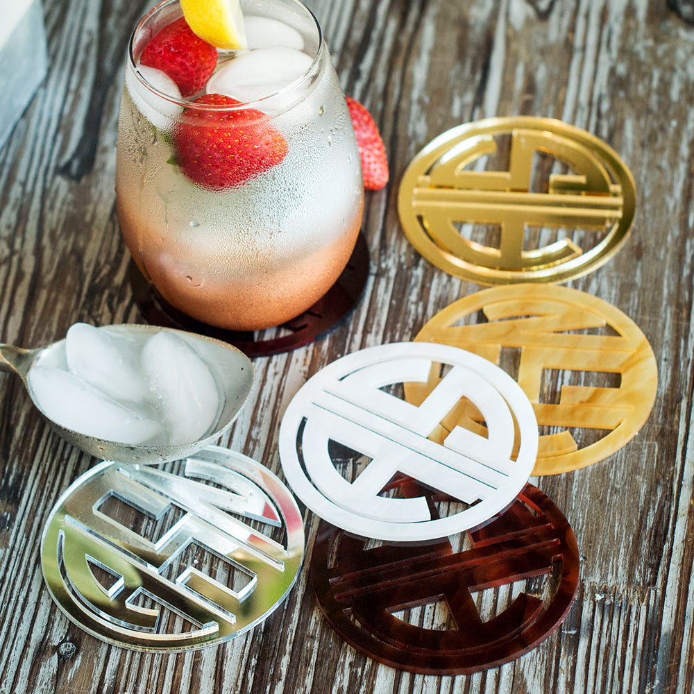 Monogram Acrylic Coaster Set