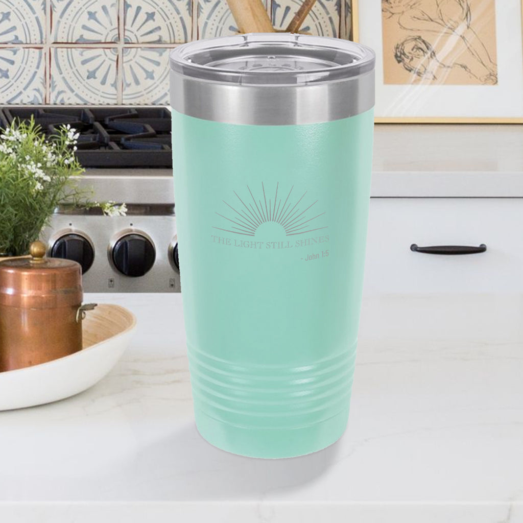 Personalized custom engraved stainless steel 20 oz tumbler with lid the light still shines design with optional initial engraving on back