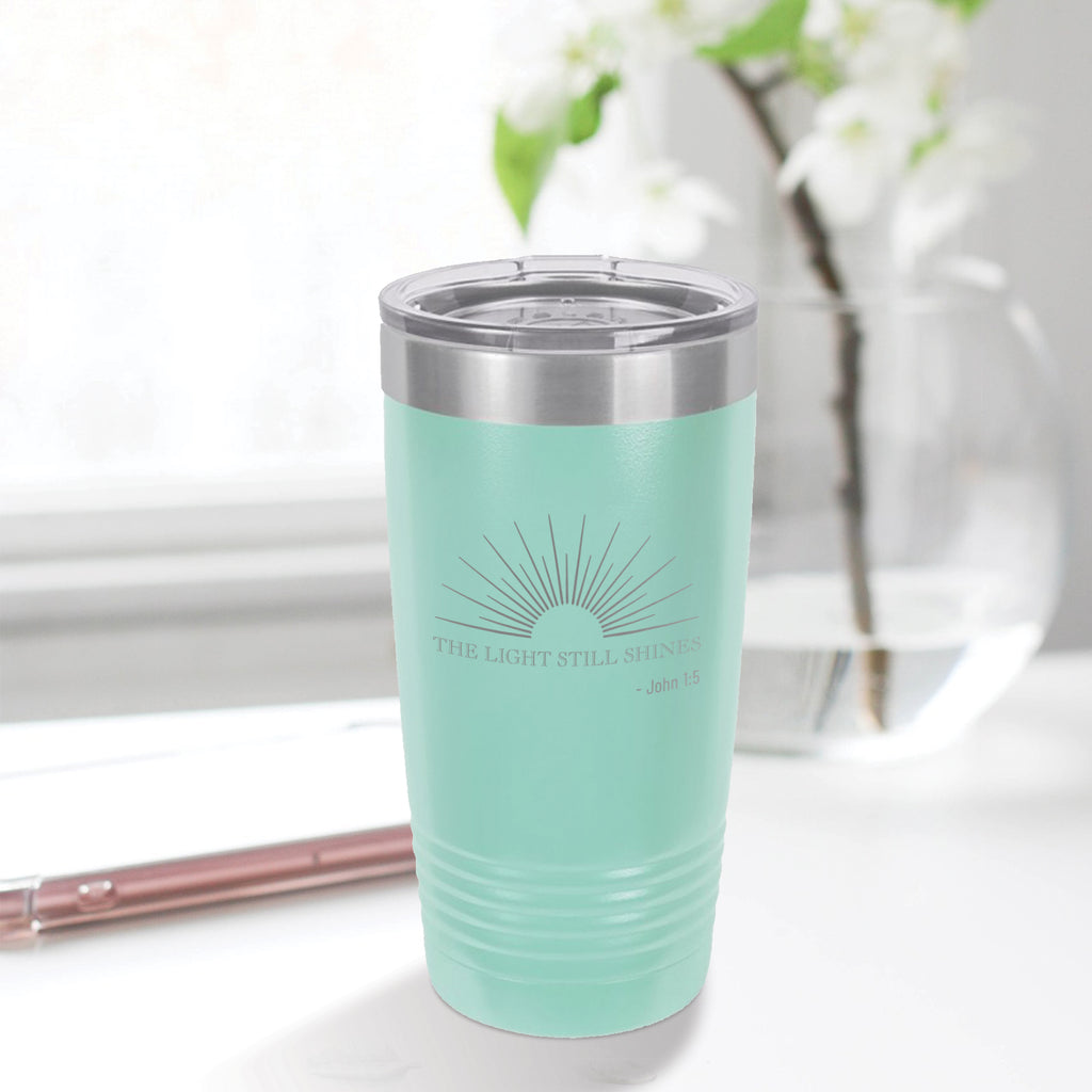 Personalized custom engraved stainless steel 20 oz tumbler with lid the light still shines design with optional initial engraving on back aqua blue teal tiffany blue