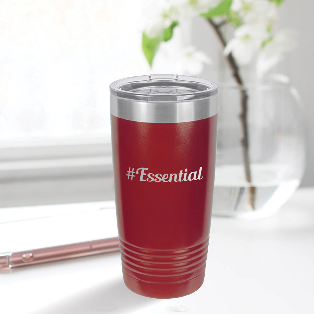 Personalized custom engraved stainless steel 20 oz tumbler with lid #Essential with optional initial engraving on back