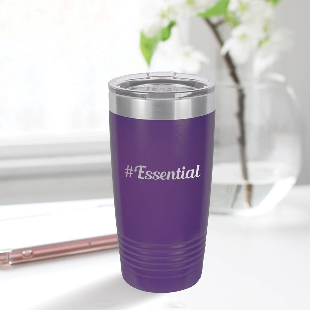 Personalized custom engraved stainless steel 20 oz tumbler with lid #Essential with optional initial engraving on back initial designs