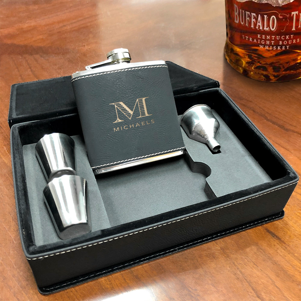 Custom Engraved Flask Gift Set