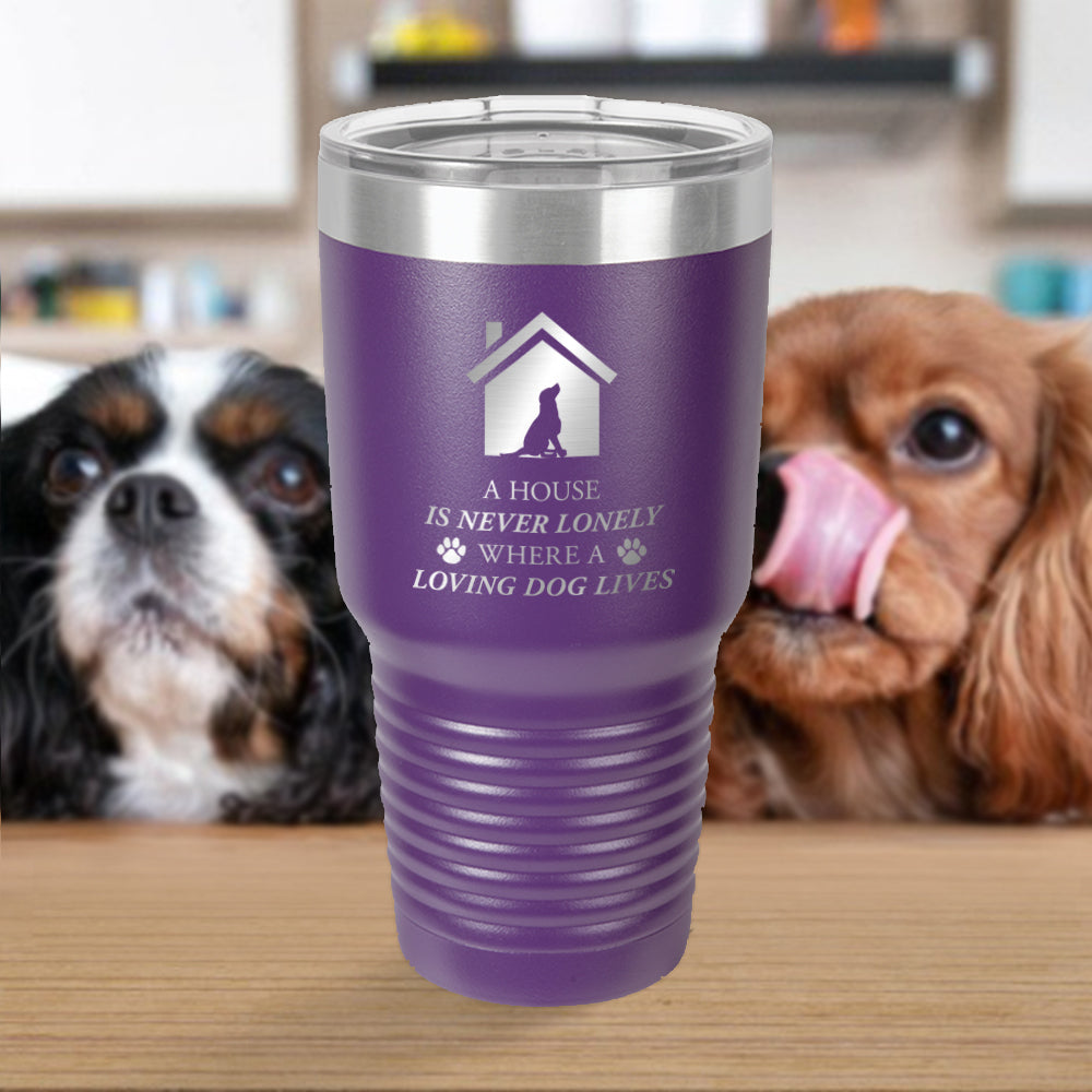 Personalized custom engraved stainless steel 30 oz tumbler with clear lid a house is never lonely where a loving dog lives design with optional initial engraving on back and optional sliding lid purple