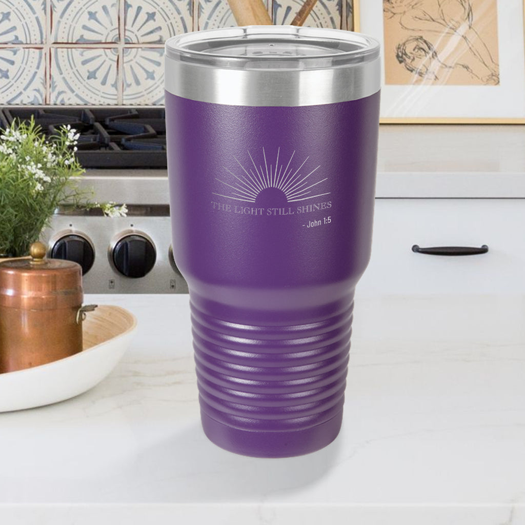 Personalized custom engraved stainless steel 30 oz tumbler with lid the light still shines design with optional initial engraving on back