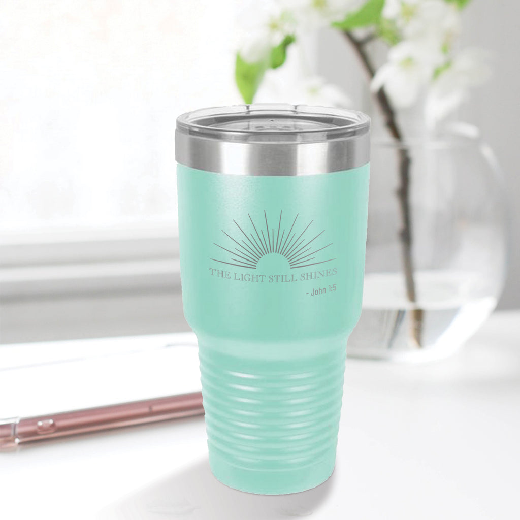Personalized custom engraved stainless steel 30 oz tumbler with lid the light still shines design with optional initial engraving on back aqua blue teal tiffany blue
