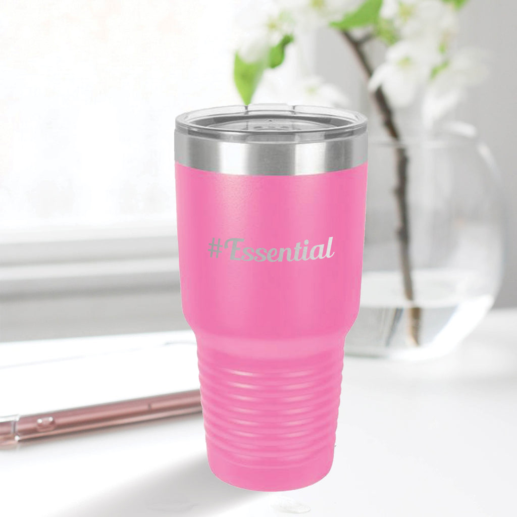 Personalized custom engraved stainless steel 30 oz tumbler with lid #Essential with optional initial engraving on back