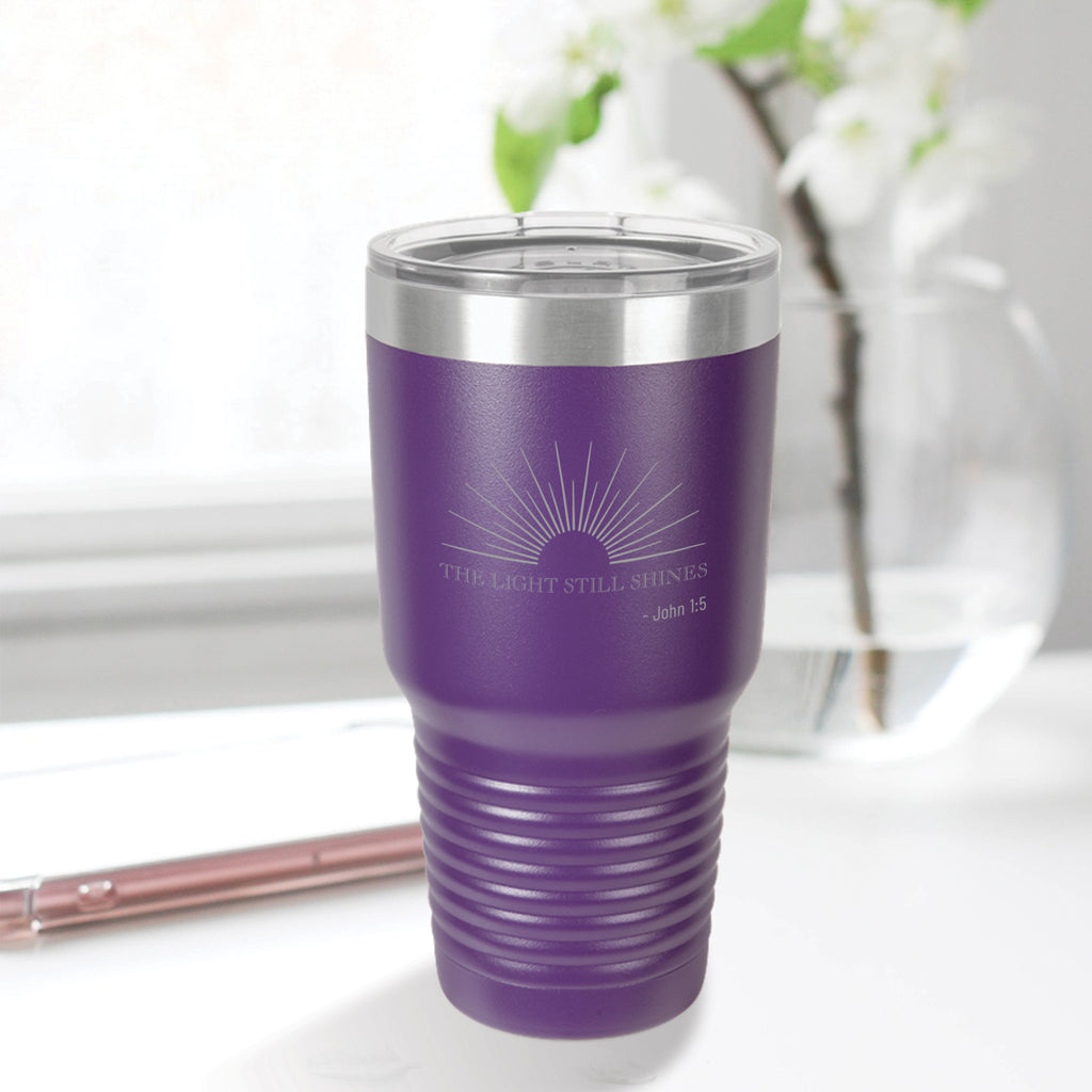 Personalized custom engraved stainless steel 30 oz tumbler with lid the light still shines design with optional initial engraving on back purple