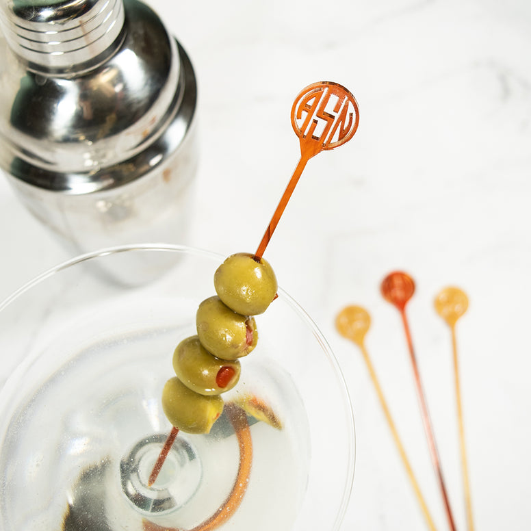 Artisan Stamp Gatsby Collection Custom Monogram acrylic Cocktail skewers
