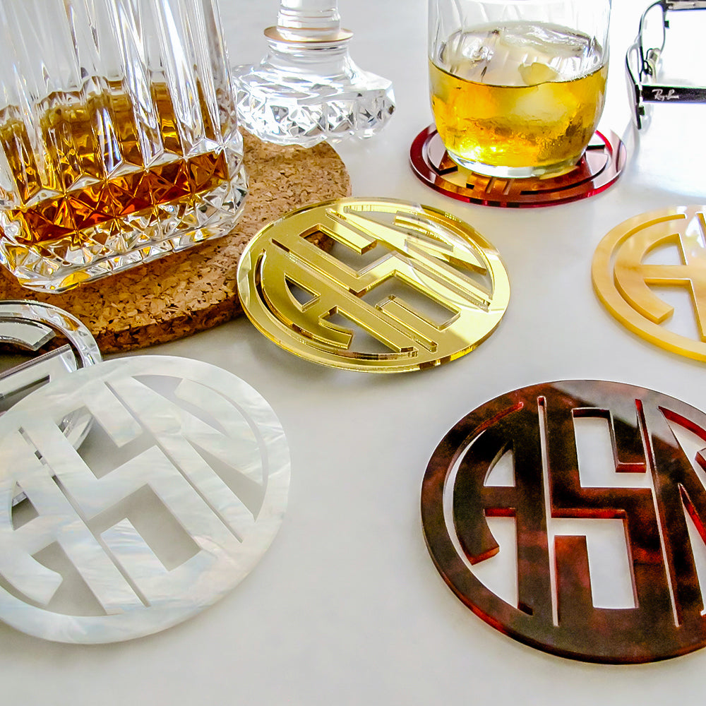 Gatsby Collection Custom Laser Cut Three Letter Monogram Coasters from Artisan Stamp