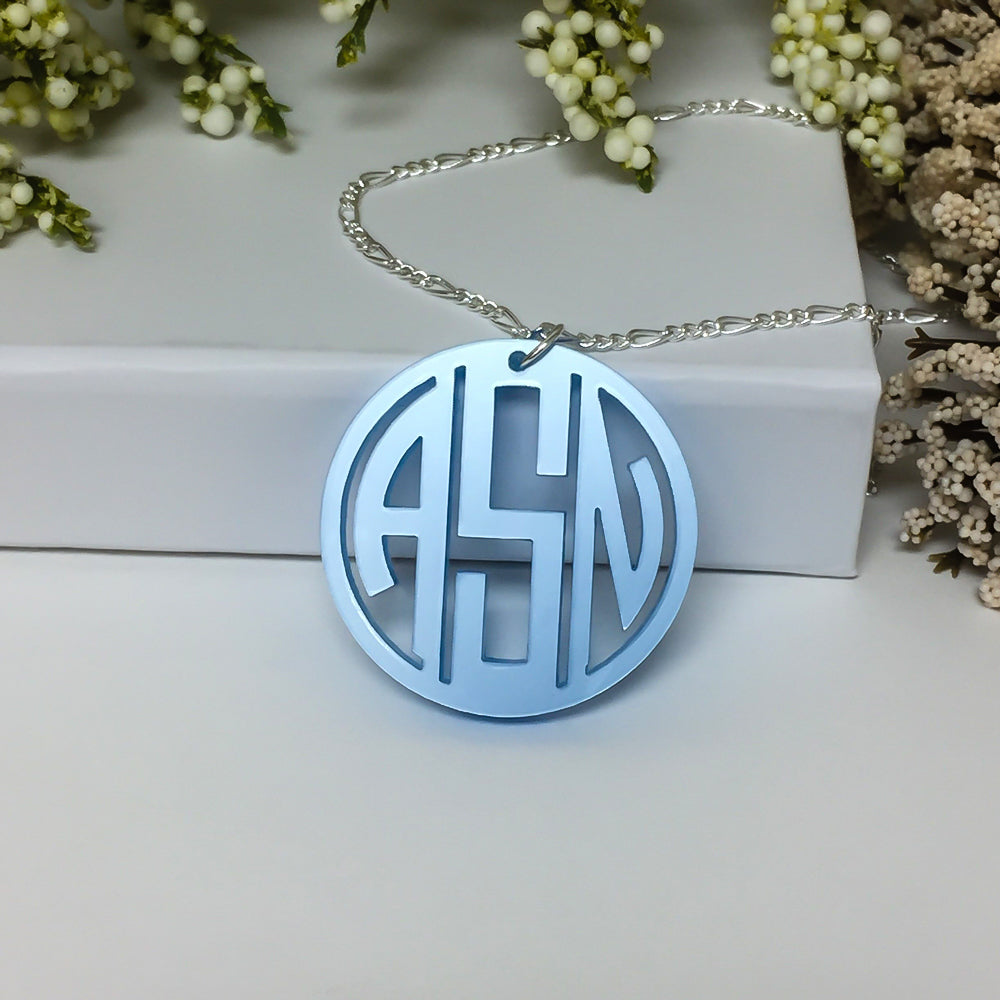 Gatsby Collection Custom Laser Cut Three Letter Monogram Pendant from Artisan Stamp