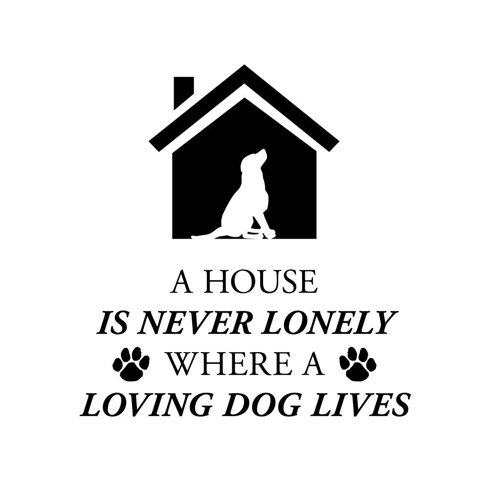 Personalized custom engraved stainless steel 12 oz tumbler with clear lid a house is never lonely where a loving dog lives design with optional initial engraving on back and optional sliding lid design image