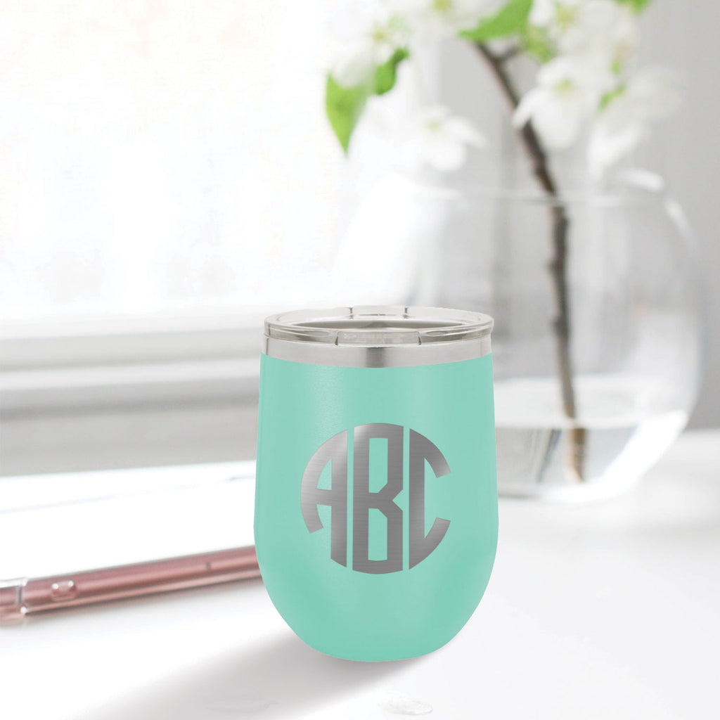 custom engraved stainless steel 12 oz tumbler aqua blue teal tiffany blue