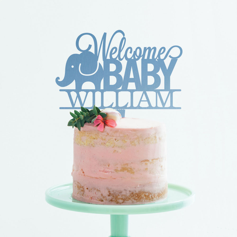 Custom Acrylic Welcome Baby Elephant Newborn Name Cake Topper