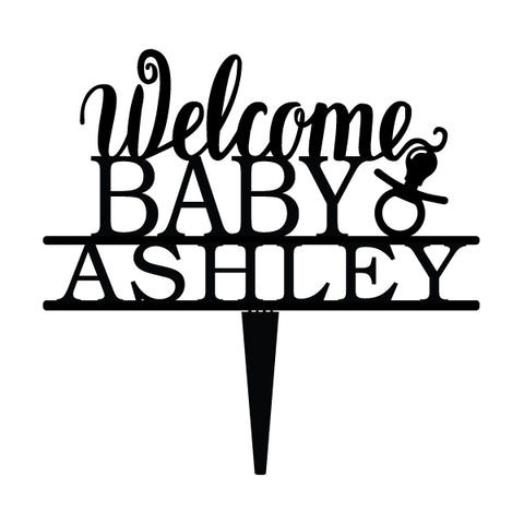 Custom Acrylic Welcome Baby Pacifier Newborn Name Cake Topper