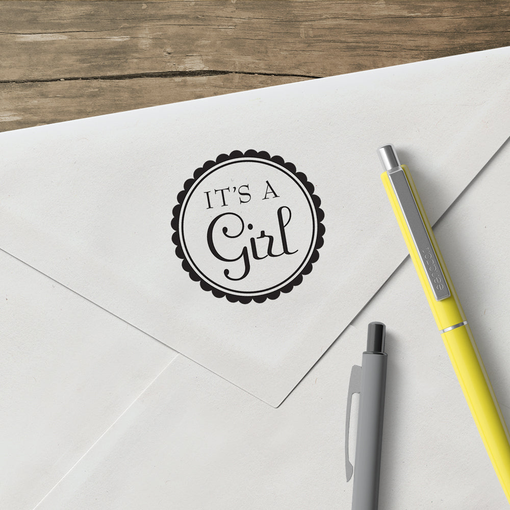Round It's A Girl Baby Custom Designer Stamp
