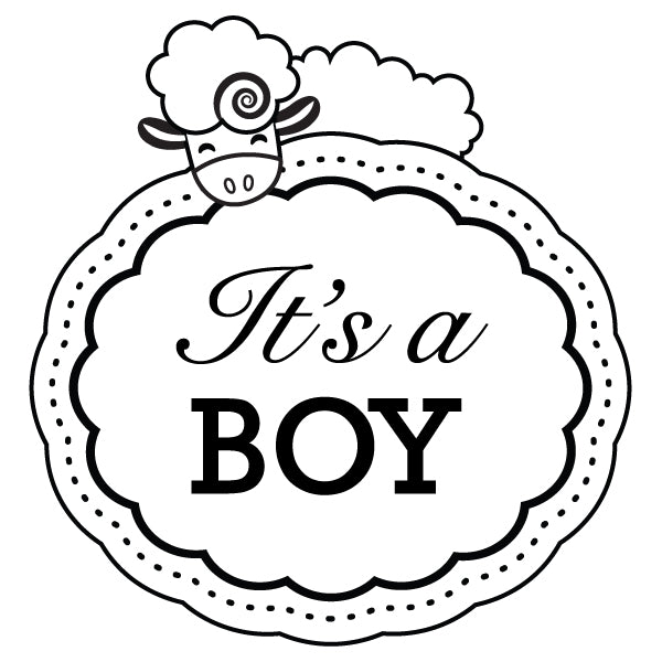 Round Sheep It's A Boy Baby Custom Designer Stamp