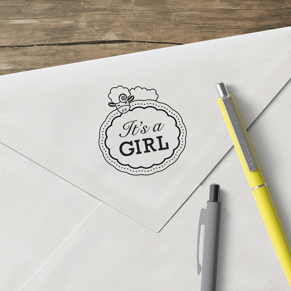 Round Lamb It's A Girl Baby Custom Designer Stamp