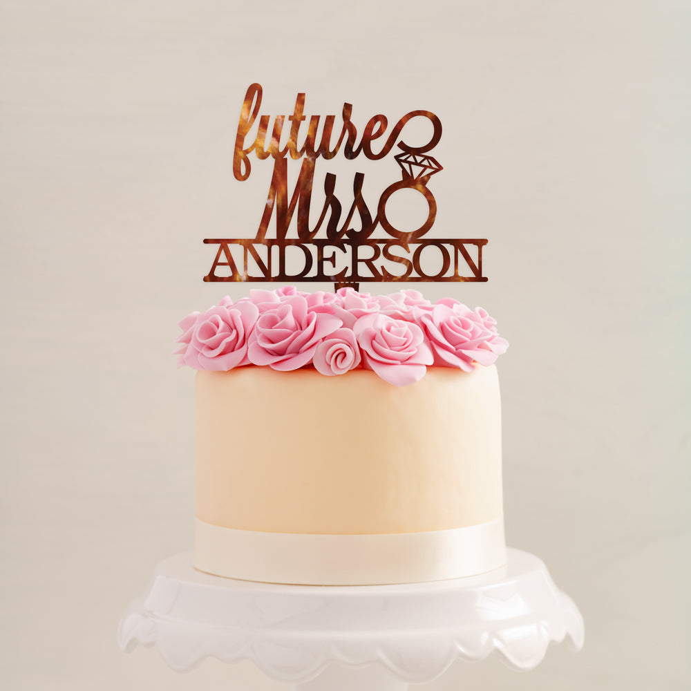 Custom Acrylic Bachelorette Future Mrs Ring last name Cake Topper