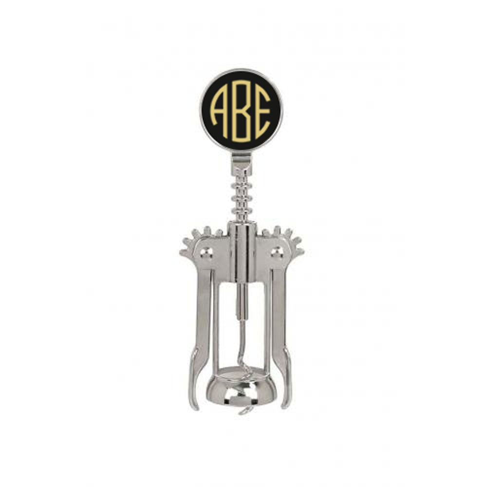 custom engraved wine bottle opener with three letter monogram black and gold