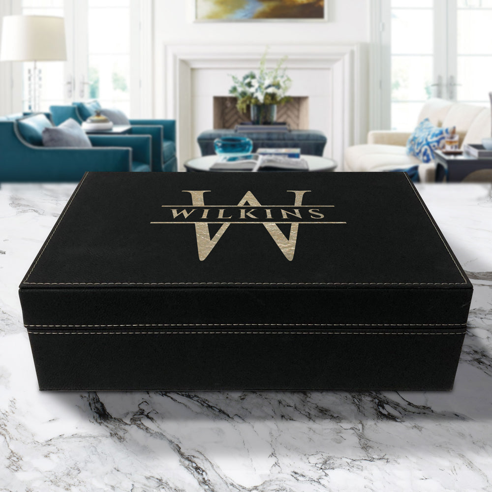 personalized custom engraved black vegan leather gift or keepsake box high quality and water resistant with magnetic closure and removable foam inserts