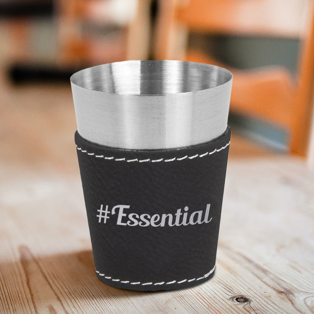 #Essential Engraved Leather & Stainless Steel Shot Glass