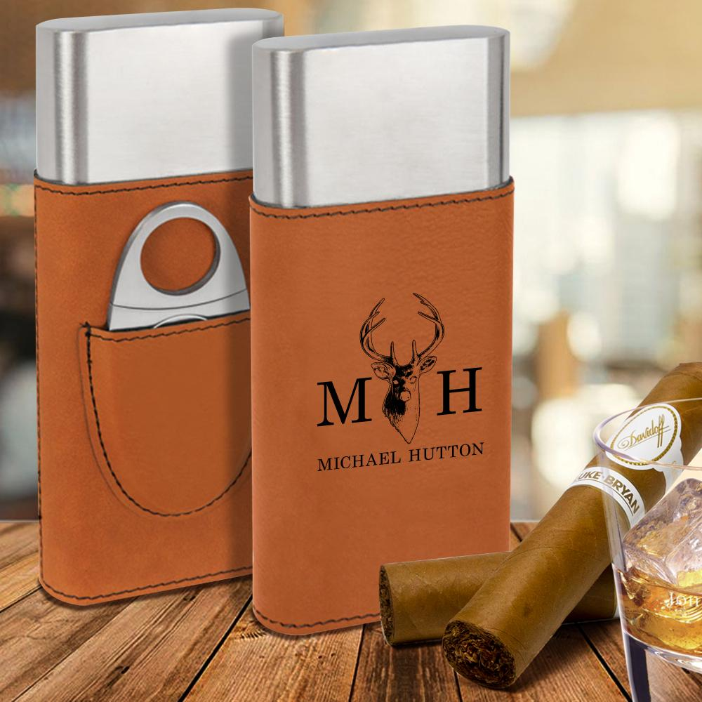 custom engraved vegan leather cigar case with cutter