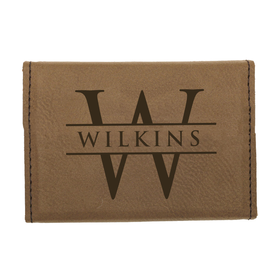 custom engraved vegan leather business card holder with initial and name with magnetic closure
