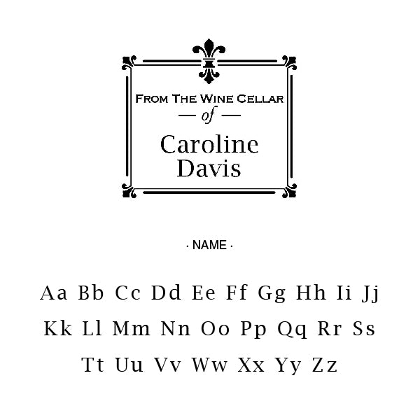 Square From The Wine Cellar Of Name Custom Designer Stamp Alphabet and Font Used